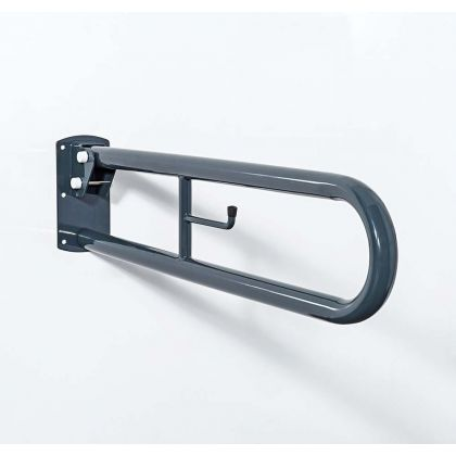 550mm Trombone Lift and Lock Steel Hinged Support Rail With Toilet Roll Holder - Dark Grey