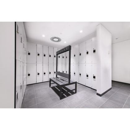 Double Sided Cloakroom Bench Seat with SGL Slats | Commercial Washrooms