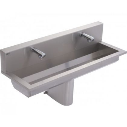 Franke 2 Users Stainless Steel Wash Trough with Rear Splashback -Sensor Taps Included