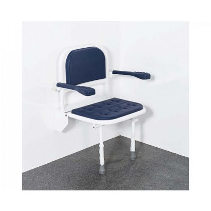 Premium Padded Wall Mounted Shower Seat With Back Arms And Legs