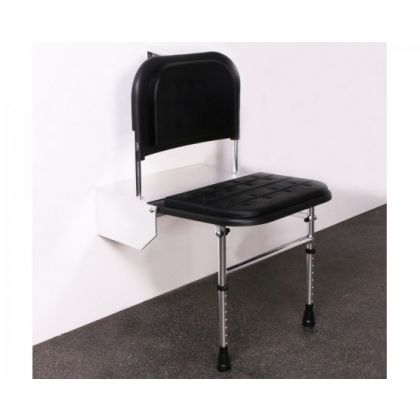 Black Padded Doc M Shower Seat With Legs And Polished Frame