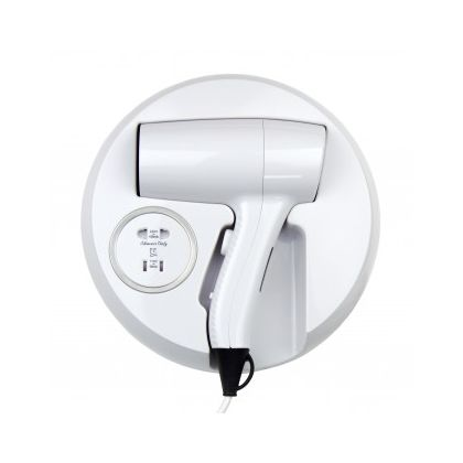 Wall Mounted Hair Dryer With Shaver Socket - White ABS Plastic | Commercial Washrooms