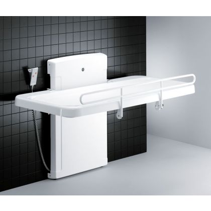 Pressalit 2000 Showering and Changing Table with Electric height Adjustment - Canvas or Mesh Cover | Commercial Washrooms
