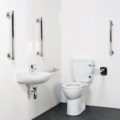 Close Coupled Doc M Toilet Pack with Contemporary Stainless Steel Rails and a TMV3