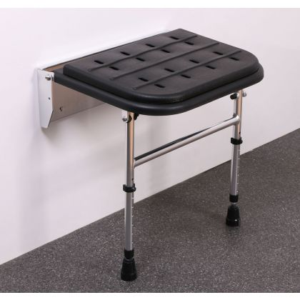 Premium Black Padded Wall Mounted Shower Seat With Legs
