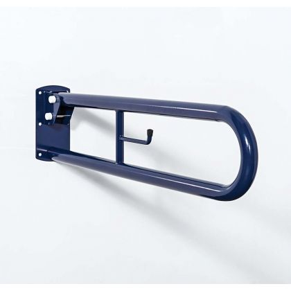 800mm Trombone Lift and Lock Steel Hinged Support Rail With Toilet Roll Holder - Dark Blue