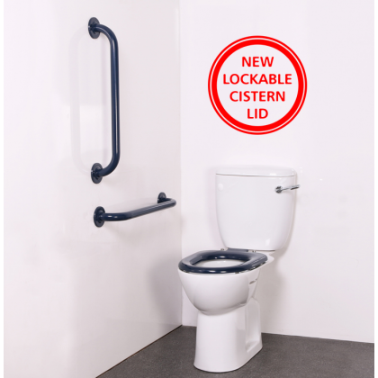 Close Coupled Ambulant Disabled Toilet Pack with Blue Stainless Steel Grab Rails (Concealed Fixings)