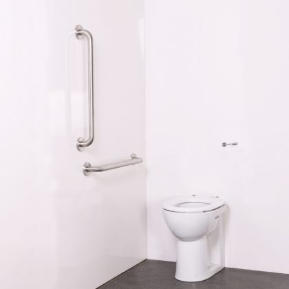 Back to Wall Ambulant Disabled Toilet Pack with Polished Satin Stainless Steel Grab Rails (Concealed Fixings)