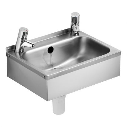 2 Tap Holes, Denholm 46cm Washbasin with combined Chainstay Overflow and Waste - Armitage Shanks | Commercial Washrooms