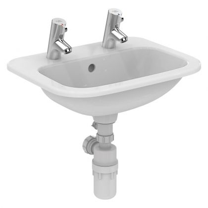 Armitage Shanks Planet 21 countertop washbasin 50cm 2 tapholes with overflow and chainstay hole | Commercial Washrooms