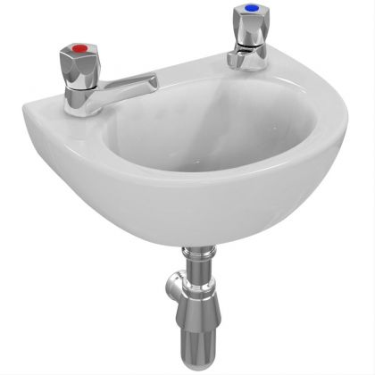 Sandringham 21 35cm Handrinse Washbasin with 2 tapholes overflow and chainstay hole | Commercial Washrooms