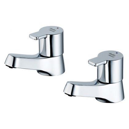 Armitage Shanks Sandringham 21 SL Pair of Basin Pillar Taps | Commercial Washrooms