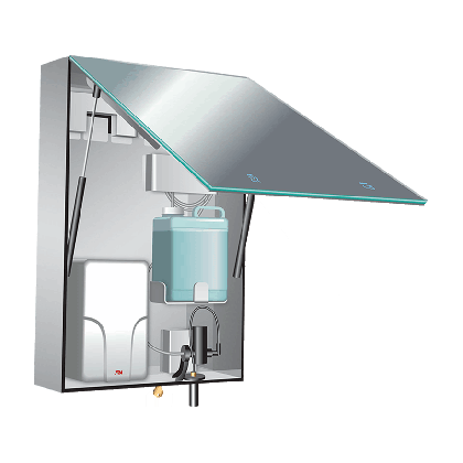 ASI Velare™ Behind the Mirror System - Stainless Steel Cabinet With Frameless Mirror, Liquid Soap Dispenser And High-speed Hand Dryer (208-240v)