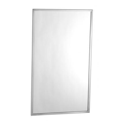 Bobrick Tempered Glass Mirror with Stainless Steel Channel Frame