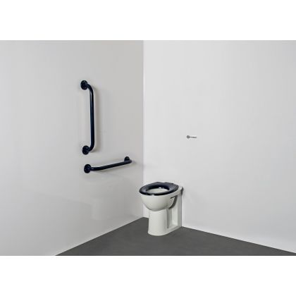 Back to Wall Ambulant Disabled Toilet Pack with Grey Steel Grab Rails (Exposed Fixings)