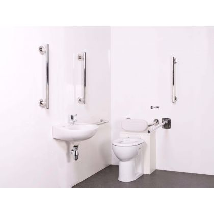 Back to wall Doc M Compliant Toilet Pack with Luxury Stainless Steel Grab Rails and TMV3 Tap