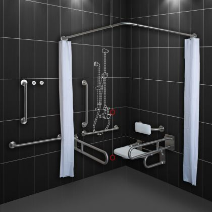 Dolphin Stainless Steel Disabled Doc-M Shower Pack (no Shower)