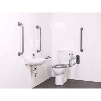 Close Coupled Doc M Toilet Pack with Grey Grab Rails and TMV3