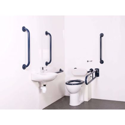 Back to Wall Doc M Toilet Pack with White or Blue Grab Rails and TMV3