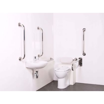 Back to Wall Doc M Toilet Pack with Polished Stainless Steel Grab Rails