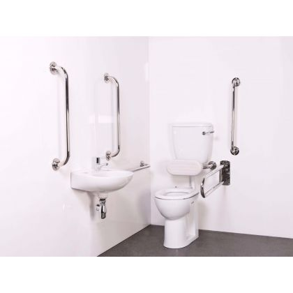 Low Level Doc M Toilet Pack including a TMV3 Valve - Polished or Satin Stainless Steel