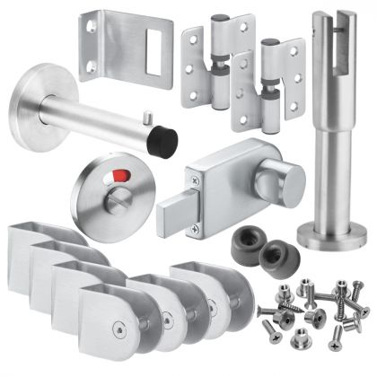 Stainless Steel Inward or Outward Opening Cubicle Hardware Pack - 13mm or 20mm Board Sizes