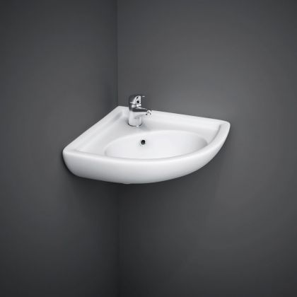 RAK-Compact Corner Basin with 1 Taphole | Commercial Washrooms