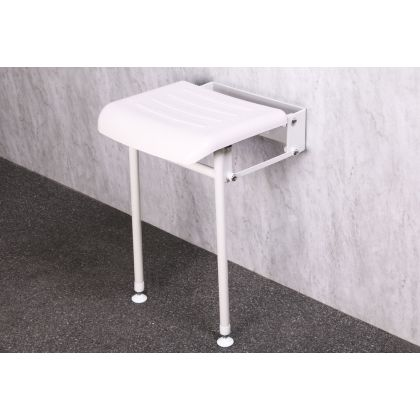 Compact Padded Hinged Shower Seat With Support Legs