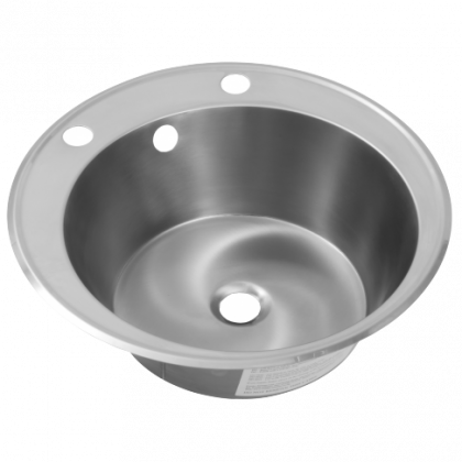 Franke Round Stainless Steel Inset Wash Hand Basin with 2 Tap Holes - 440mm