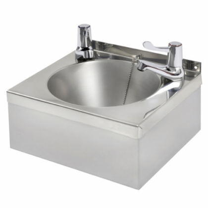 """Franke Model """"A"""" Square Polished Stainless Steel Washbasin - With Lever Taps"""