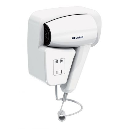 Delabie Wall Hung Hair Dryer with Shaver Socket