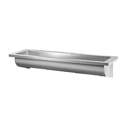 Delabie Wall Mounted Stainless Steel Wash Trough (No Tap Holes)