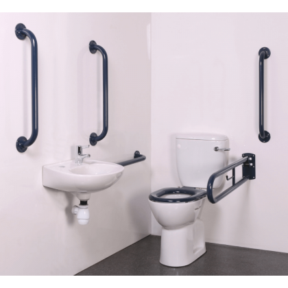 Budget Close Coupled Disabled Toilet Room Pack with Blue Grab Rails