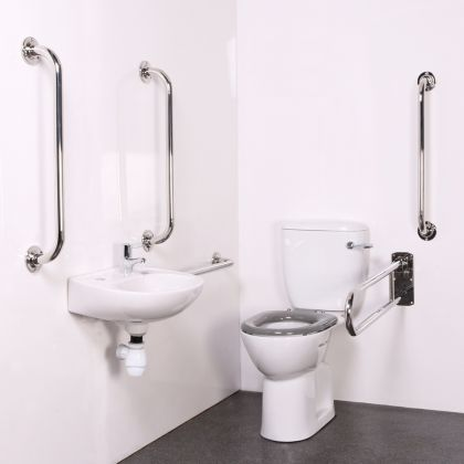 Budget Close Coupled Disabled Toilet Room Pack with Polished Stainless Grab Rails