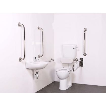 Value Low Level Disabled Toilet Room Pack (Doc M Pack) with Polished Grab Rails and Exposed Fixings