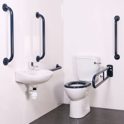Bristan Close Coupled Disabled WC Doc M Pack with Blue Grab Rails and TMV3