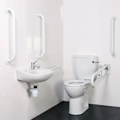 Bristan Close Coupled Disabled WC Doc M Pack with White Grab Rails and TMV3