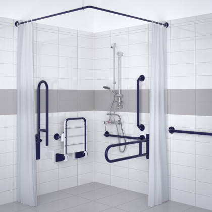 Delabie Exposed Valve Doc M Disabled Shower Pack (Blue Grab Rails)