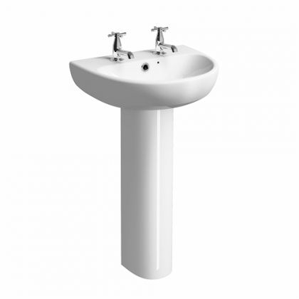 Twyford E100 Round Wall Hung Washbasin 500mm 2 Tap Holes