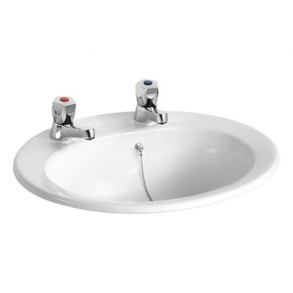 Armitage Shanks Sandringham Countertop Washbasin 500mm - 2 tap hole & overflow and chainstay