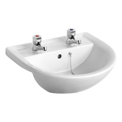 Armitage Shanks Sandringham 21 500mm Semi Recessed Washbasin - 1 tap hole with overflow, no chainstay