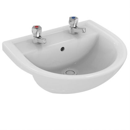 Armitage Shanks Sandringham 21 500mm Semi Recessed Washbasin - 2 tap holes with overflow, no chainstay