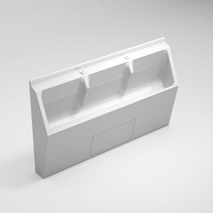 White GRP Three User Floor Standing Urinal Trough