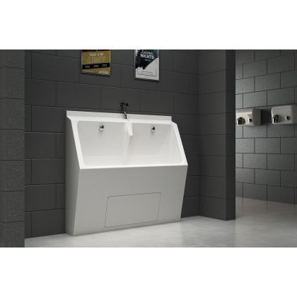 White GRP Two User Floor Standing Urinal Trough