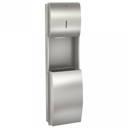 Franke Stratos Recessed Wall Mounted Paper Towel Dispenser and Waste Bin Combination Unit