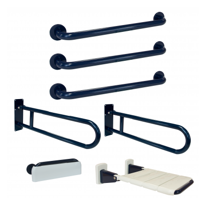 Franke Two Hinged Grab Rail Three Straight Grab Rails Shower Seat and Back Rest Pack