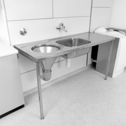 Franke Stainless Steel DUHS Hospital Disposal Unit 1600mm Wide, Right Hand Drain, 2 Tap Holes