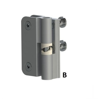 Satin Anodised Cubicle Hinge (Pair) with 2 T-Nut Fixings | Commercial Washrooms