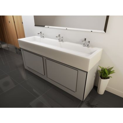 Ultra Fast Solid Surface Box Wash Trough with Underframe | Grey | Commercial Washrooms