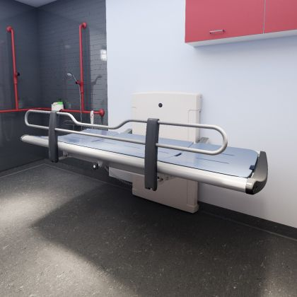 Pressalit 3000 Showering and Changing Table with Electric height Adjustment | Commercial Washrooms